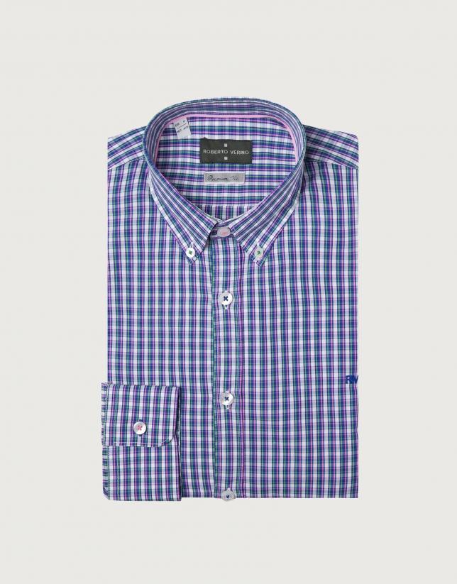 Chemise décontractée bleue à carreaux profilés en rose