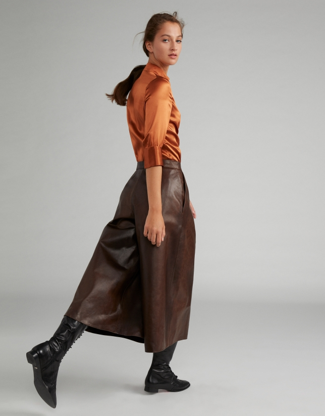 Jupe-culotte en cuir nappa marron