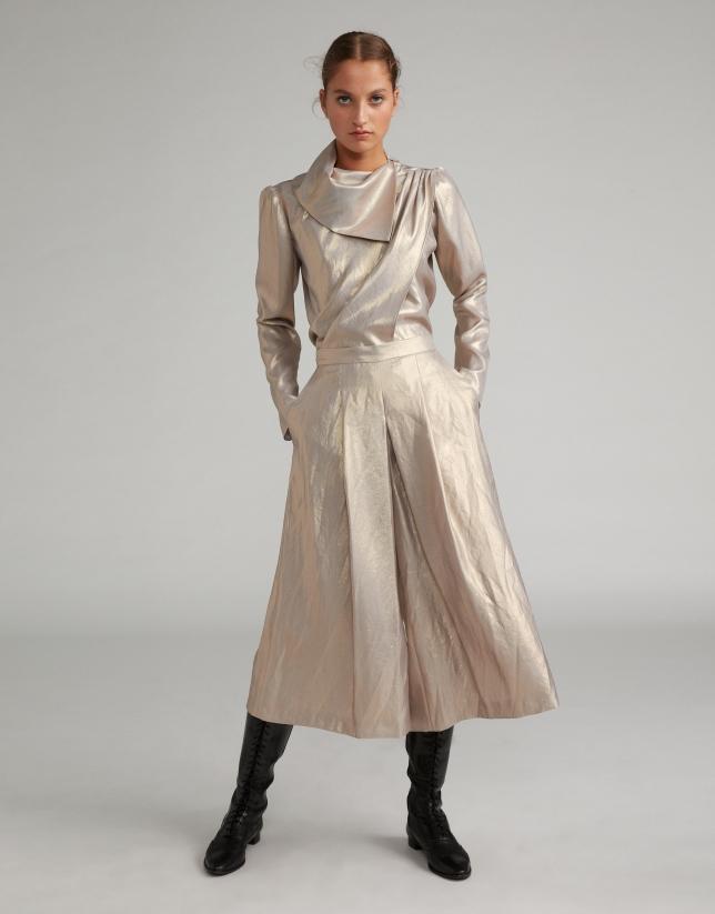Falda pantalón efecto metalizado nacarado