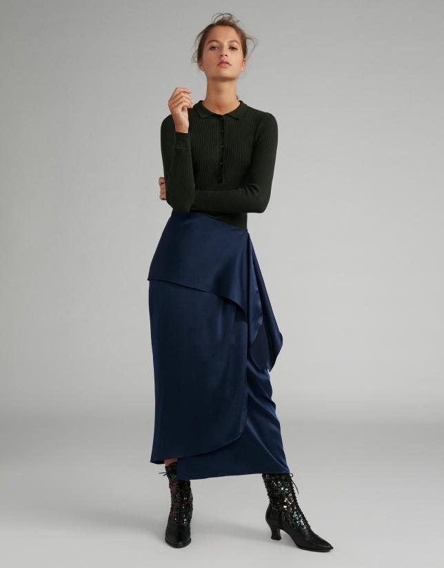 Falda midi efecto pareo azul noche