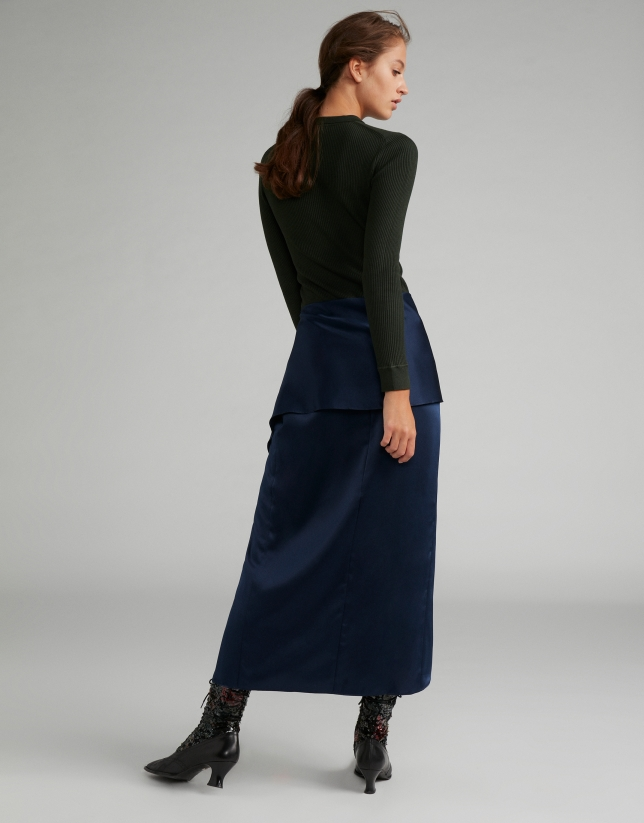 Midnight blue sarong effect midi skirt