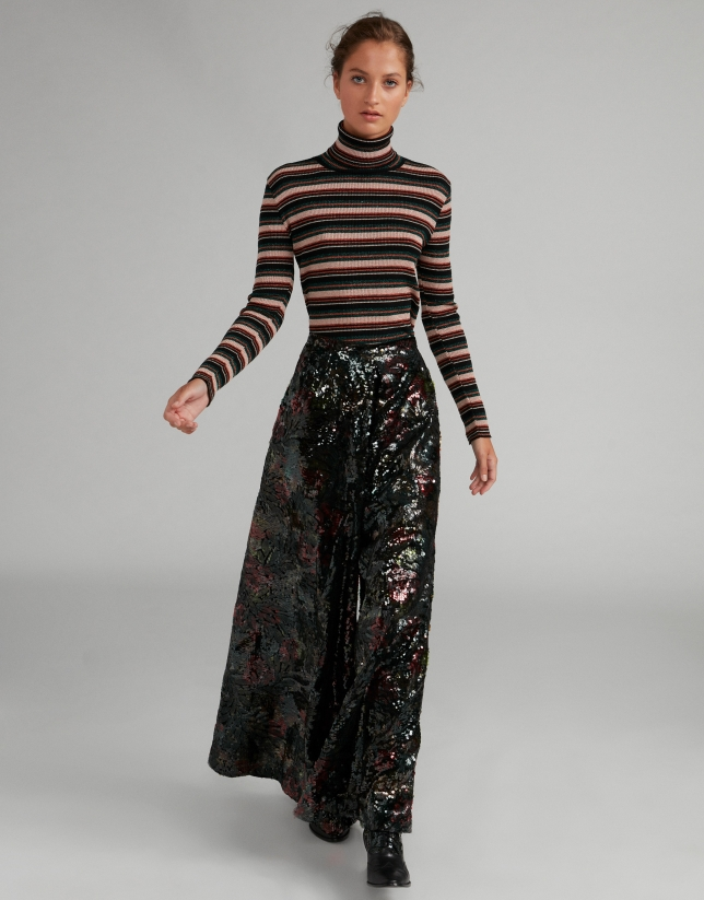 Palazzo pants with sequins