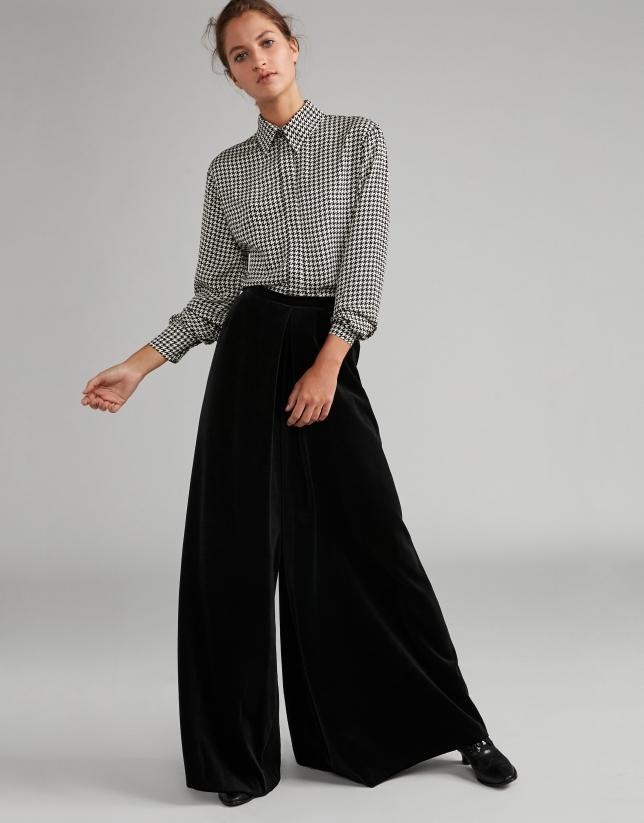 patrones de moda nuevo estilo originales Pantalón palazzo terciopelo negro - Mujer | Roberto Verino