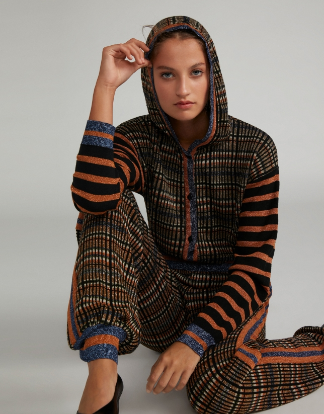 Metalized knit pants