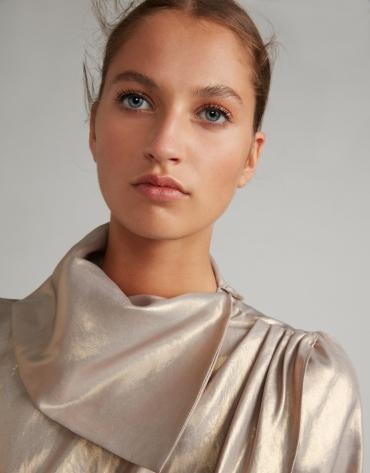 Nacre-effect wrap blouse