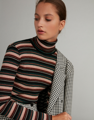 Brown striped knit top