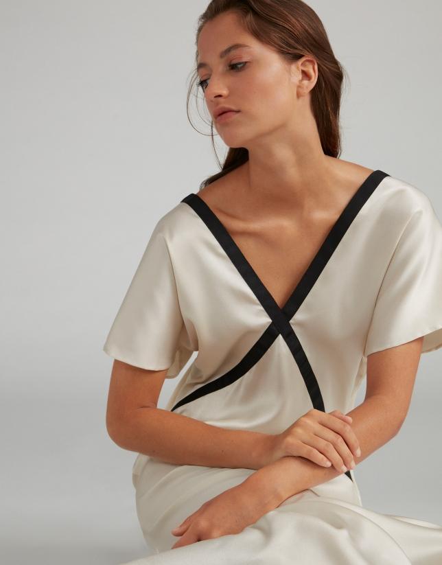 Robe longue façon lingerie blanc