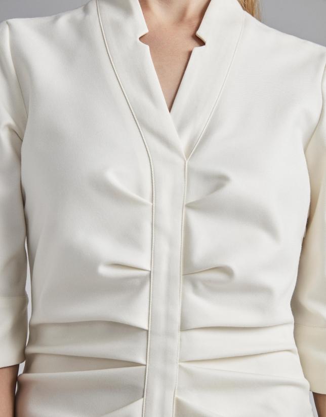 White wrap shirtwaist dress