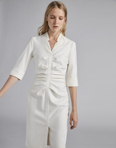 White wrap shirtwaist dress