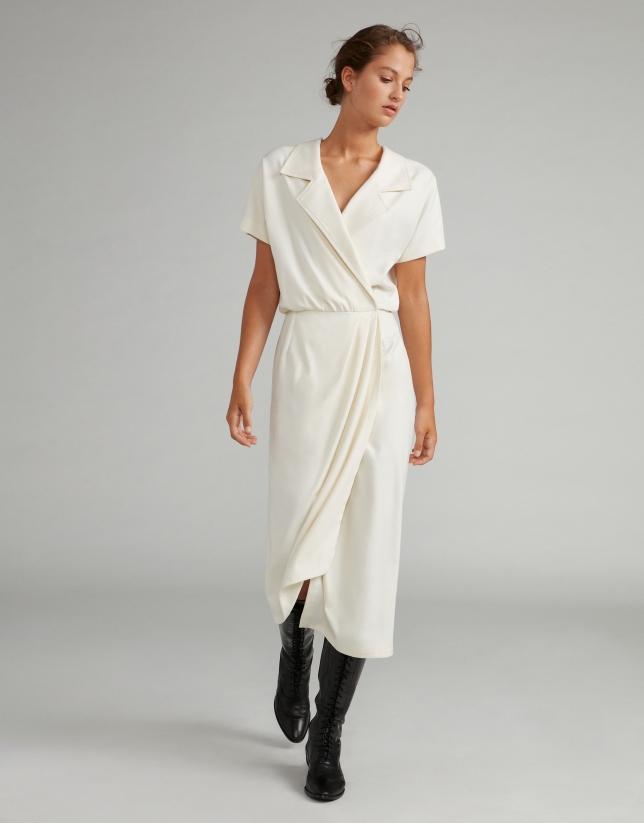 Robe croisée blanc effet deux pièces