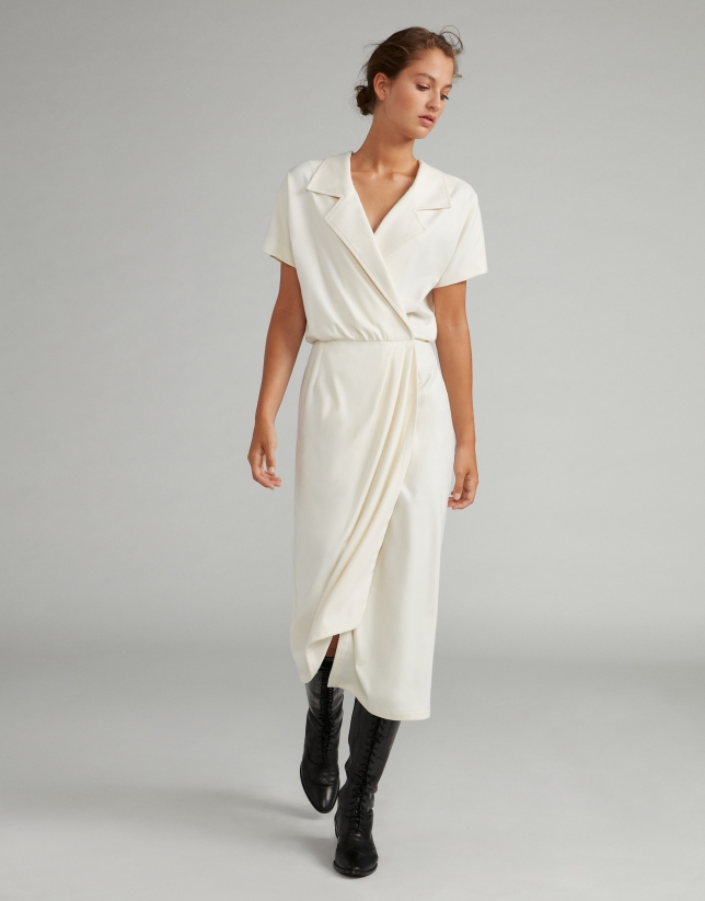 White wrap dress with two-piece effect
