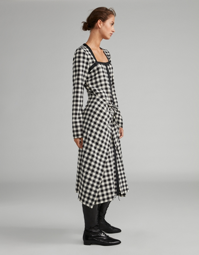 Black and white checked sarong-effect dress