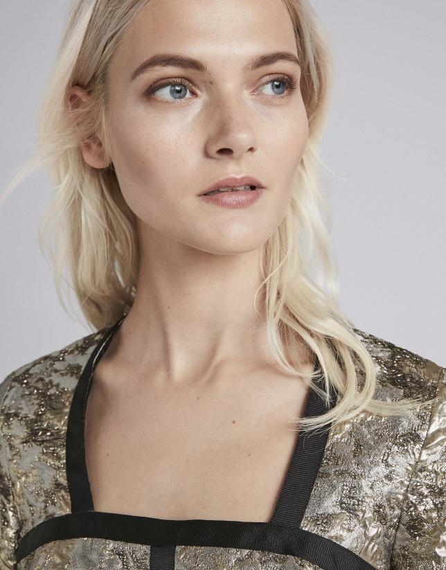 Vestido jacquard plata y oro