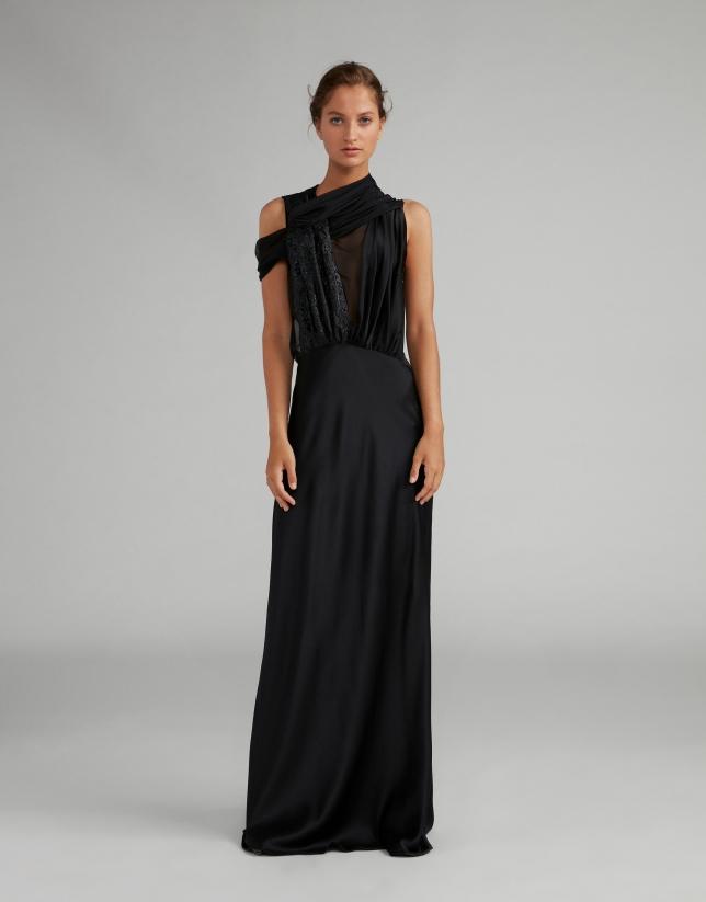 Vestido largo satén negro