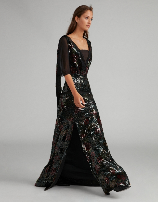 Long black dress with sequins