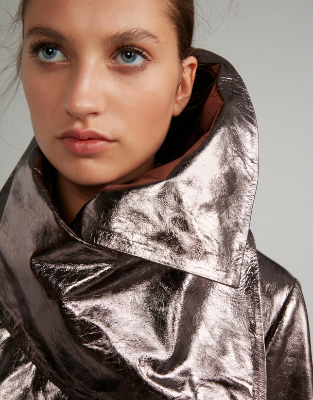 Silver metalized windbreaker