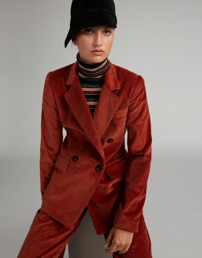 Terra cotta corduroy, double-breasted suit jacket