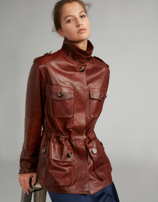 Brown napa safari jacket