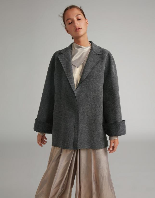 Light gray wool cape coat