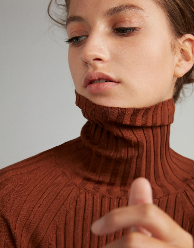 Mink-colored,  turtleneck, ribbed, sweater
