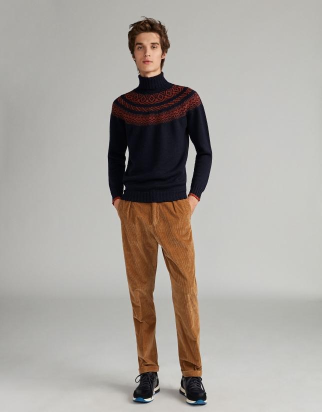 Pantalon à lacet en velours couleur camel