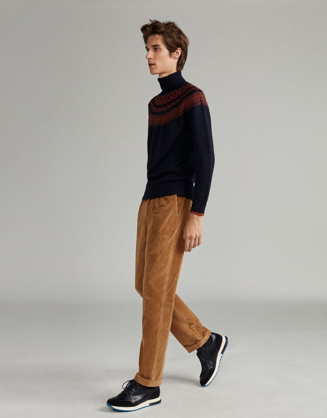 Camel corduroy pants with cord belt