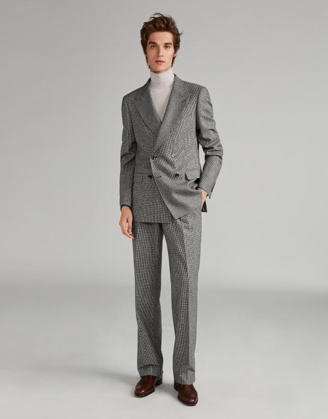 Costume croisé pied de poule gris