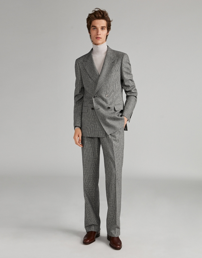 Houndstooth suit with double-breasted jacket