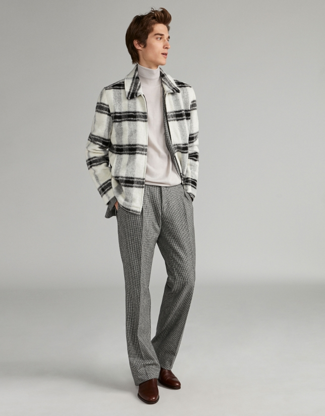 White sport jacket with black bands