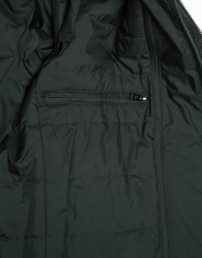 Abrigo largo pechera desmontable verde caqui