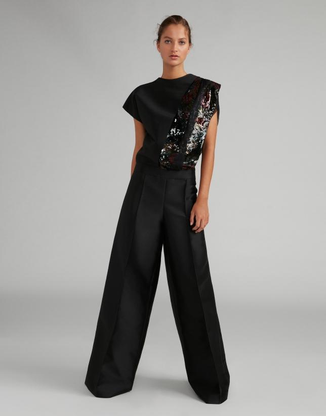 Black taffeta palazzo jumpsuit