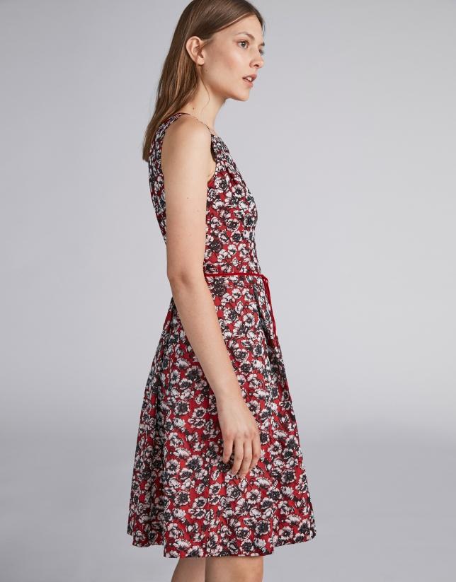 Vestido midi granate estampado floral