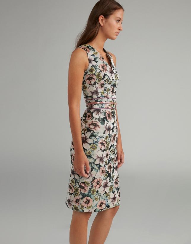 Robe turquoise imprimé floral, col V
