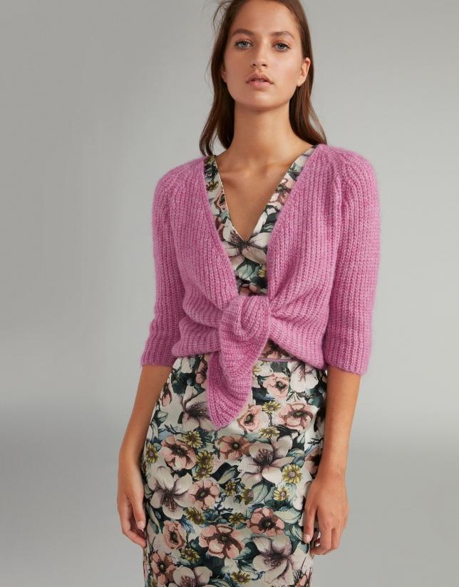 Vestido estampado floral cinturon rosa