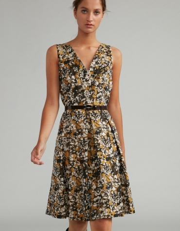 Vestido midi jacquard floral oro