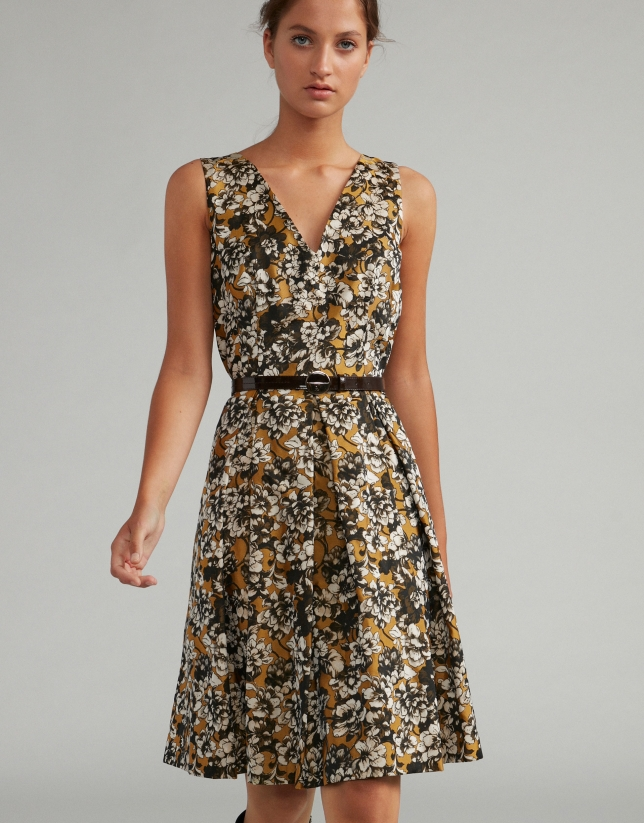 Gold and floral jacquard midi dress