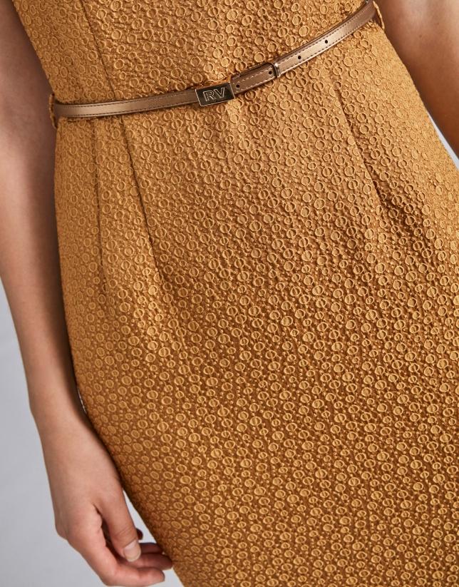 Gold jacquard dress