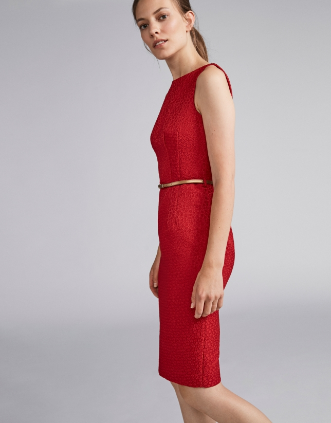 Poppy-colored jacquard dress