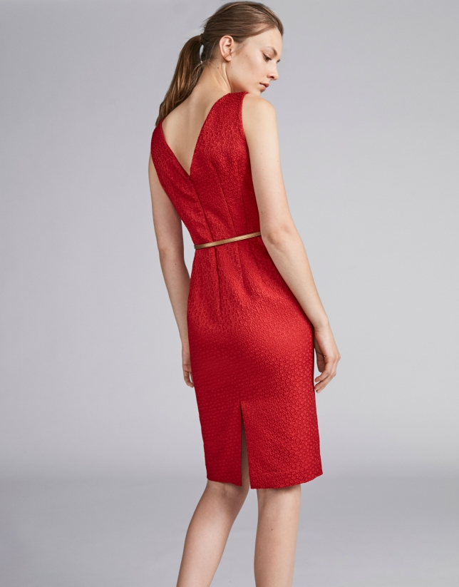 Poppy-colored jacquard dress