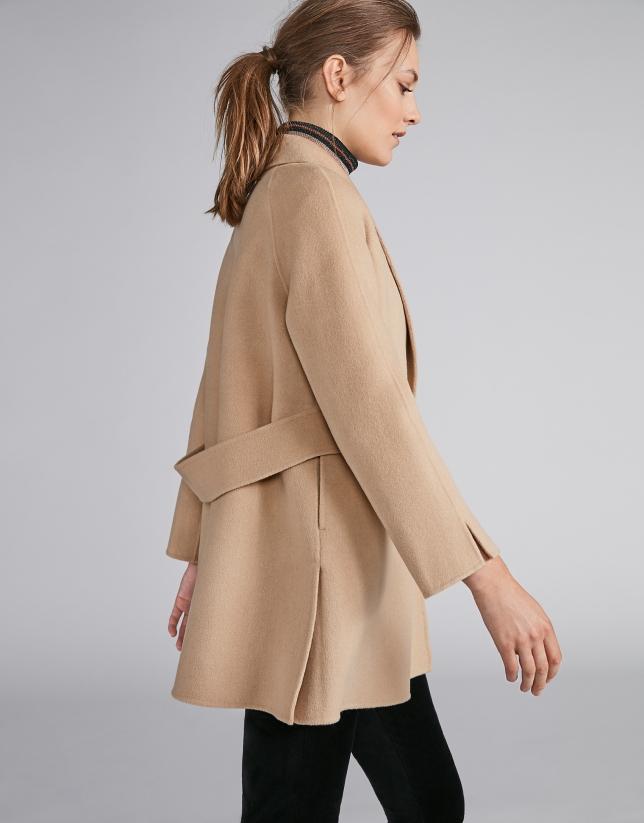 Chaqueta de lana doble faz beige
