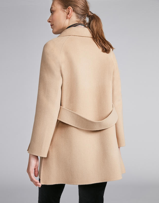 Plain beige double-faced jacket