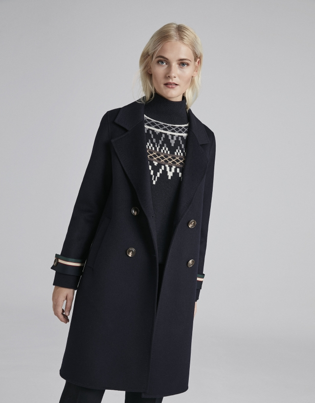 20438f4d6287c Abrigo marinero lana azul - Mujer - OI2018