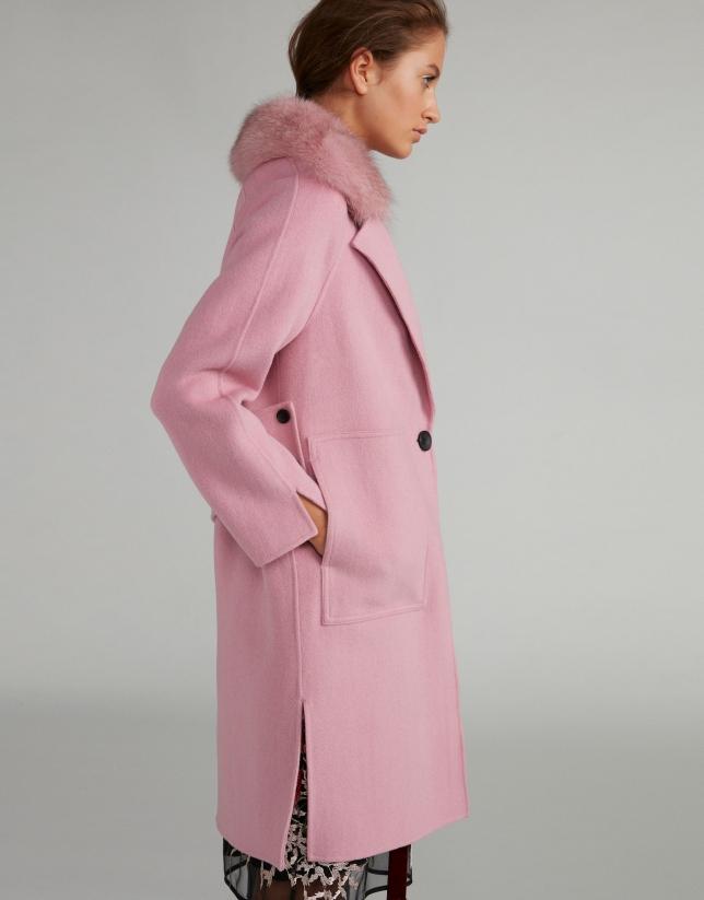 Abrigo de paño rosa cuello pelo