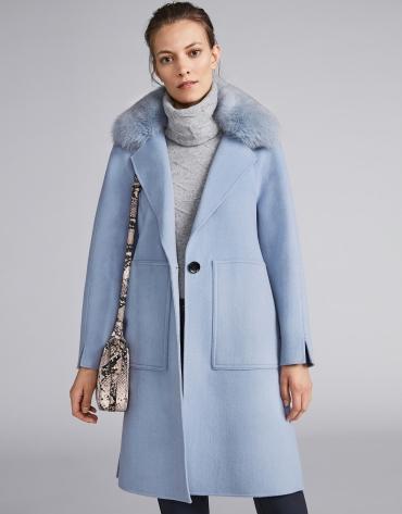 Light blue cloth coat with fur collar