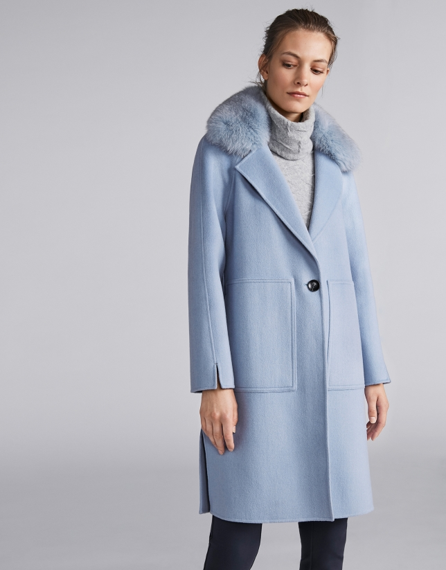 Light blue cloth coat with fur collar