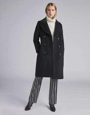 Manteau feutré noir, triple patte de boutonnage
