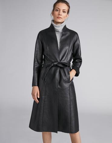 Manteau en cuir noir