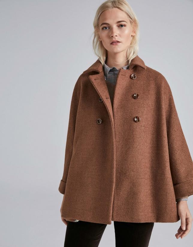 Manteau à carreaux couleur café, double patte de boutonnage