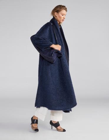 Manteau long en laine bleu