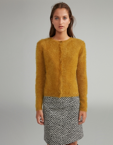 Gold fur-effect knit cardigan